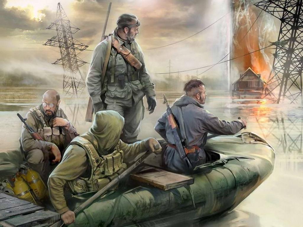 солдаты на лодке